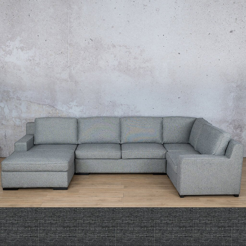 Arizona Fabric | U-Sofa Chaise LHF | Volcanic Charcoal | Leather Gallery