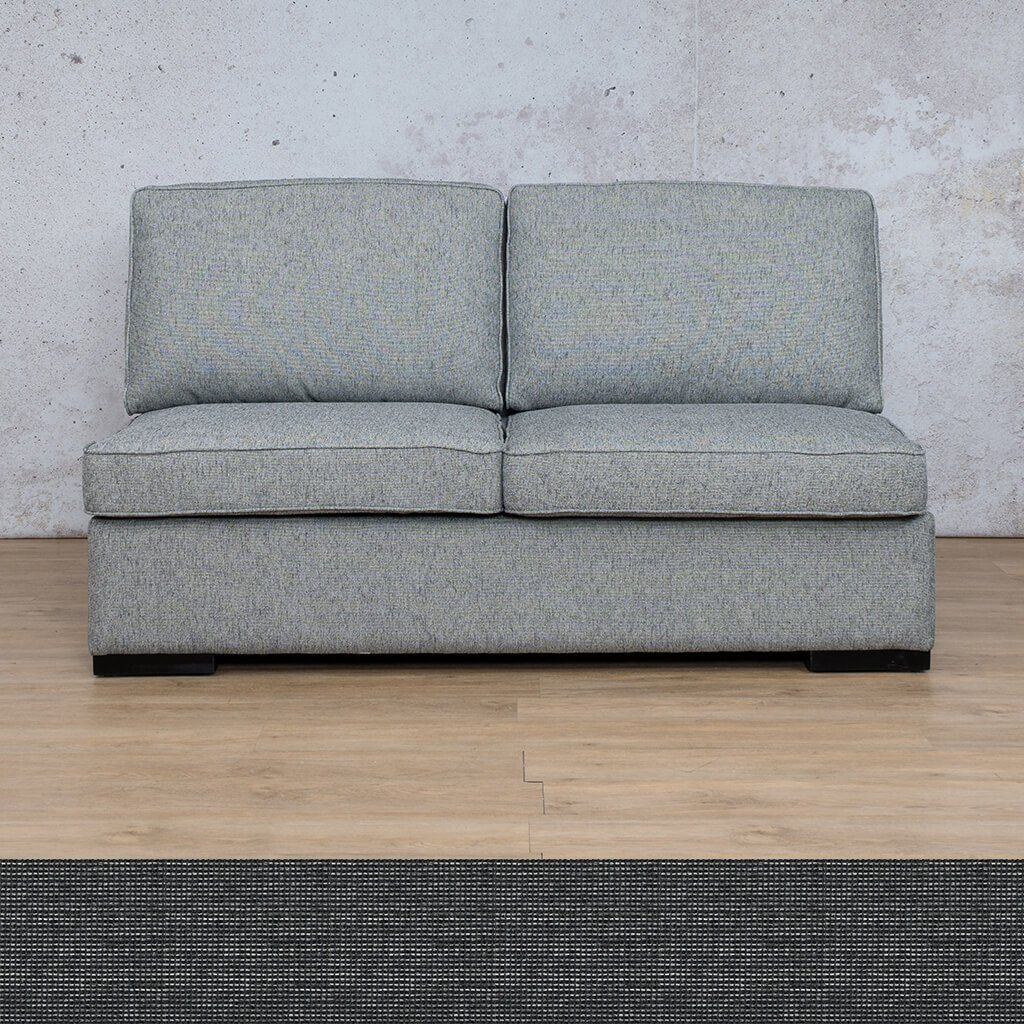 Arizona Fabric | Armless 2 Seater | Volcanic Charcoal | Leather Gallery