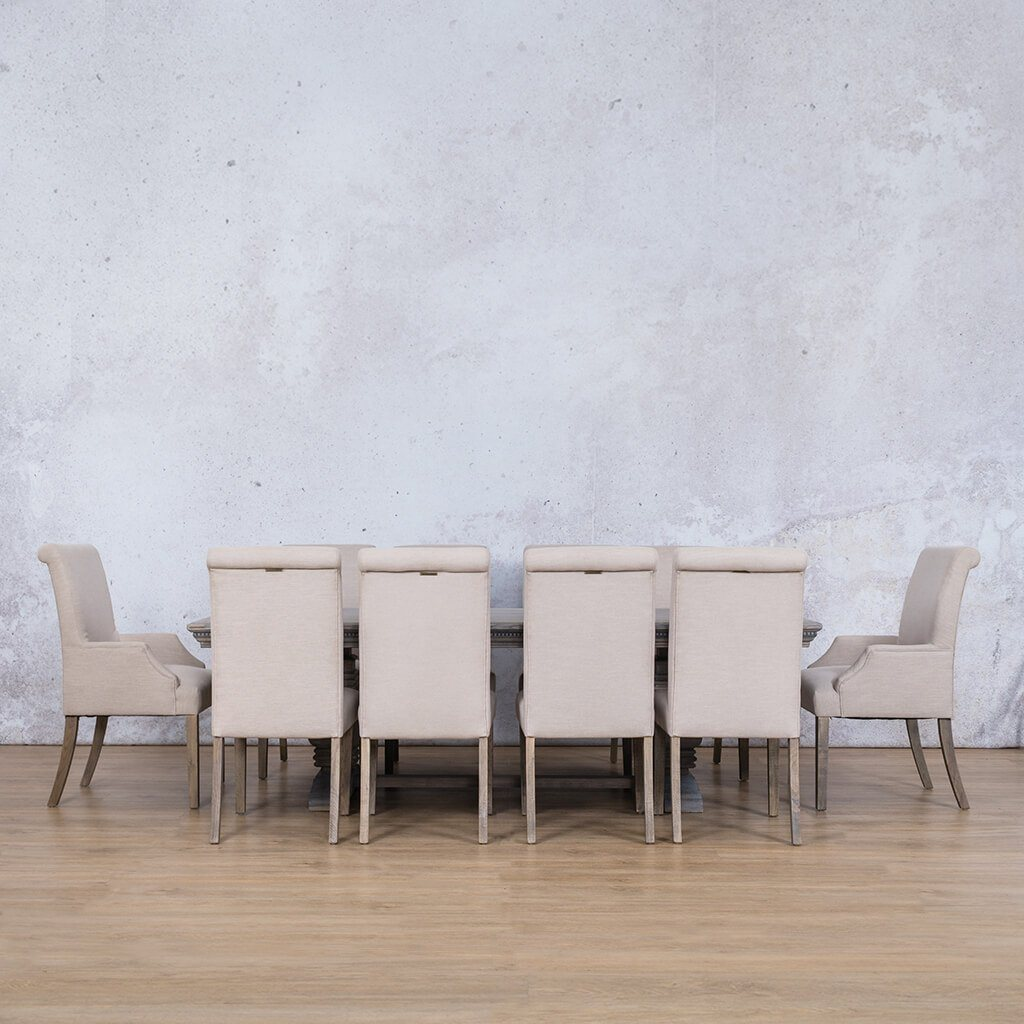 Belmont Fluted Wood Top & Baron | 10 Seater | Dining Set | Leather Gallery