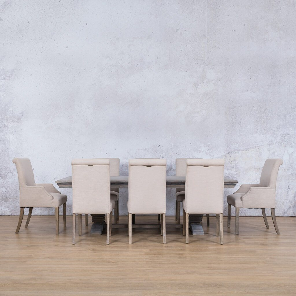 Belmont Fluted Wood Top & Baron | 8 Seater | Dining Set | Leather Gallery