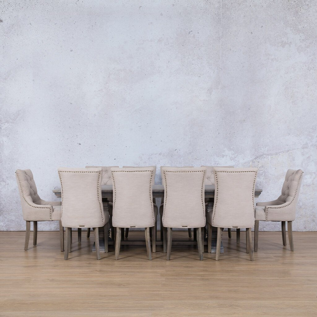 Belmont Fluted Wood & Duchess | 10 Seater | Dining Set | Leather Gallery
