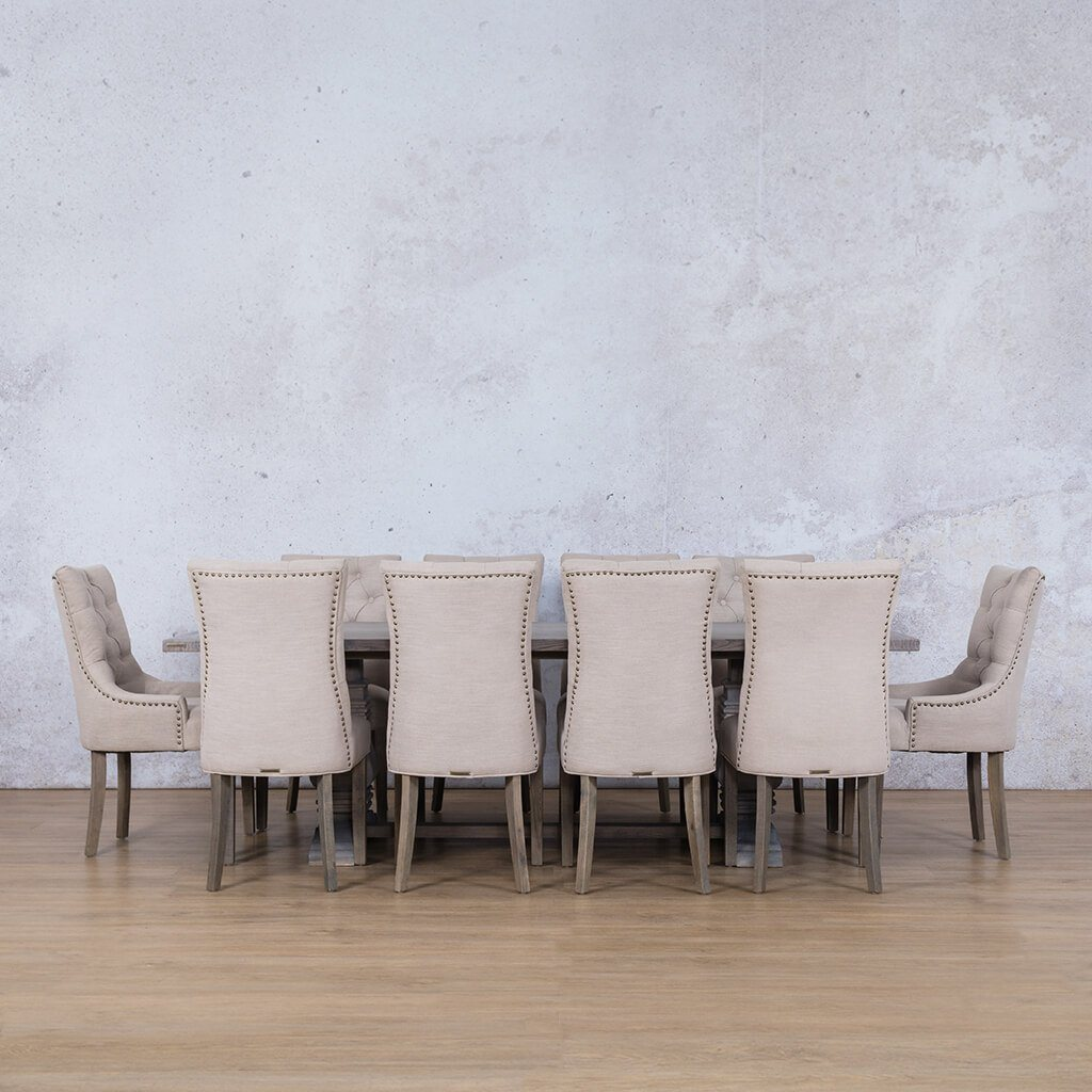 Belmont Wood Top & Duchess | 10 Seater | Dining Set | Leather Gallery