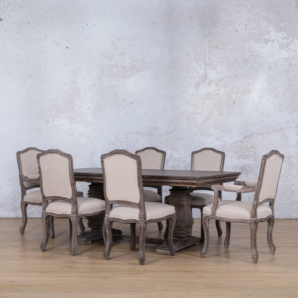 Belmont Fluted Wood Top & Duke 6 Seater Dining Set