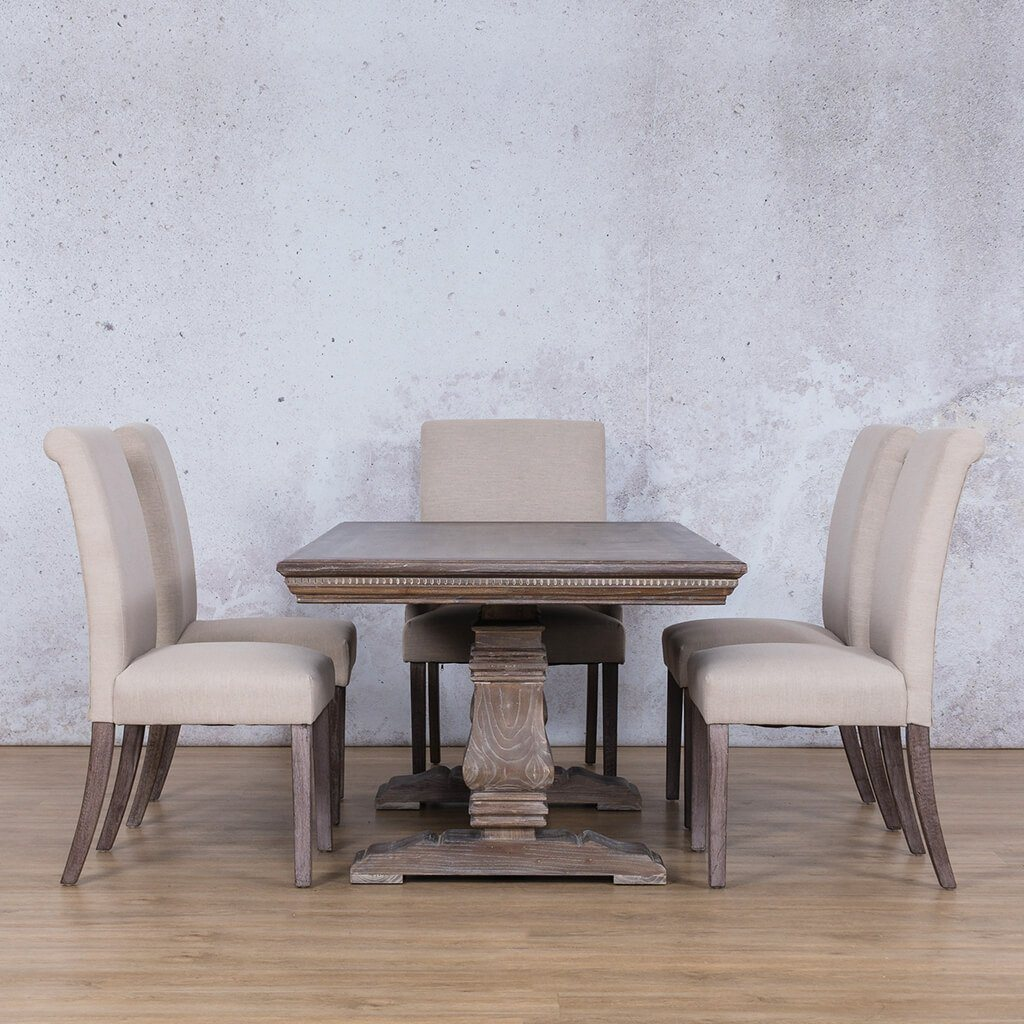 Belmont Fluted Wood Top & Baron 6 Seater Dining Set