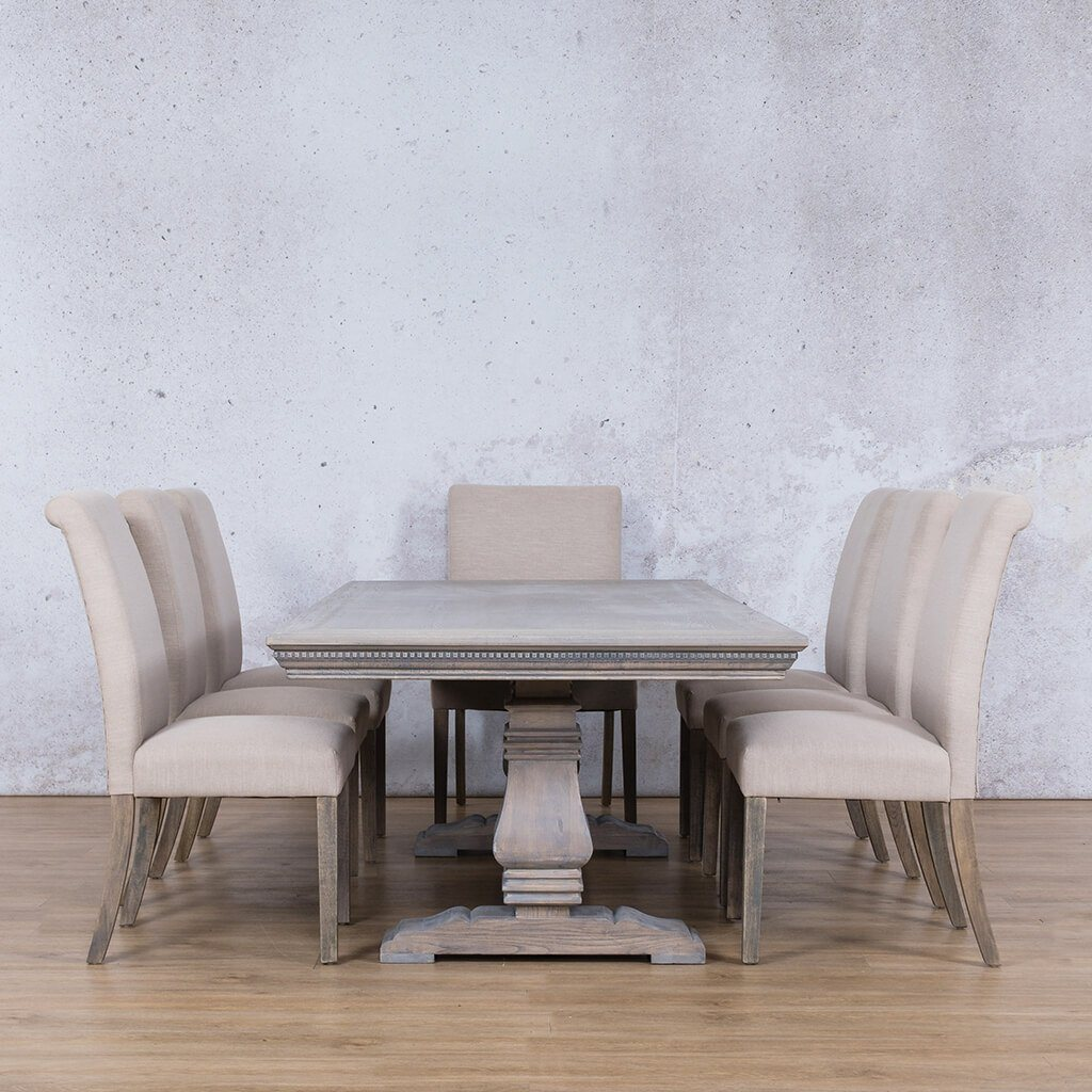 Belmont Fluted Wood Top & Baron 8 Seater Dining Set