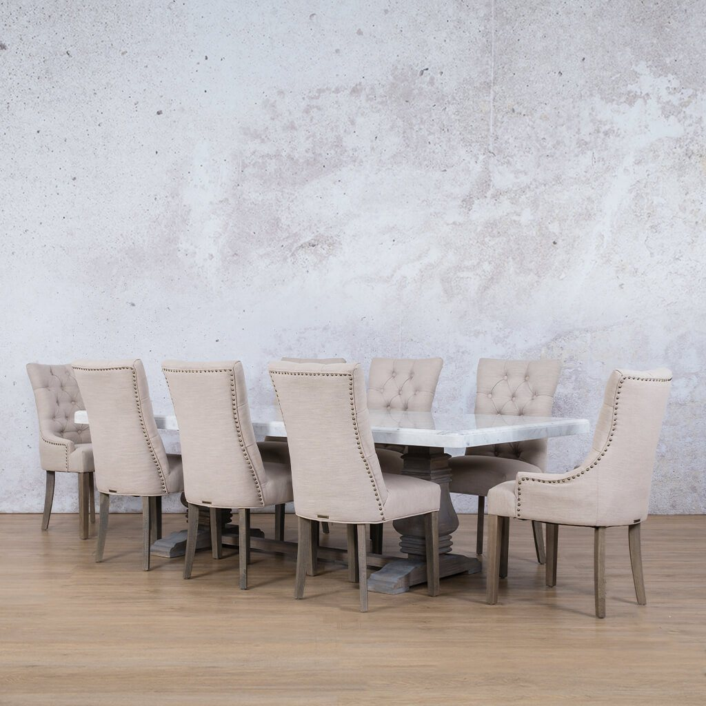 Belmont Marble Top & Duchess 8 Seater Dining Set