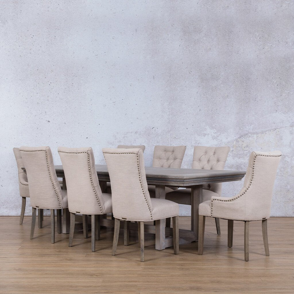 Bolton Fluted Wood Top & Duchess 9 Piece Dining Set