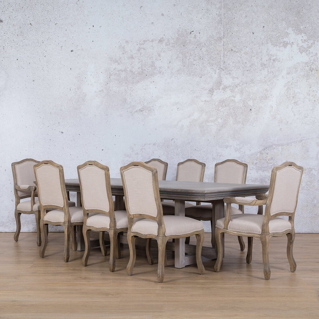 Bolton Fluted Wood Top & Duke 8 Seater Dining Set