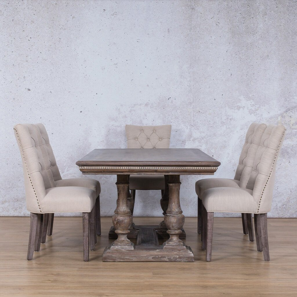 Charlotte Fluted Wood Top & Duchess 6 Seater Dining Set