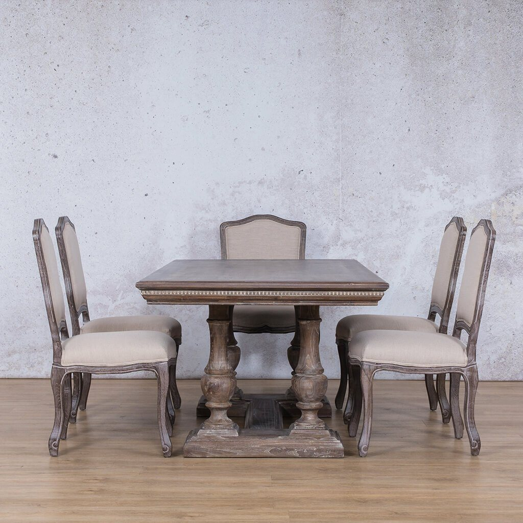 Charlotte Fluted Wood Top & Duke 6 Seater Dining Set