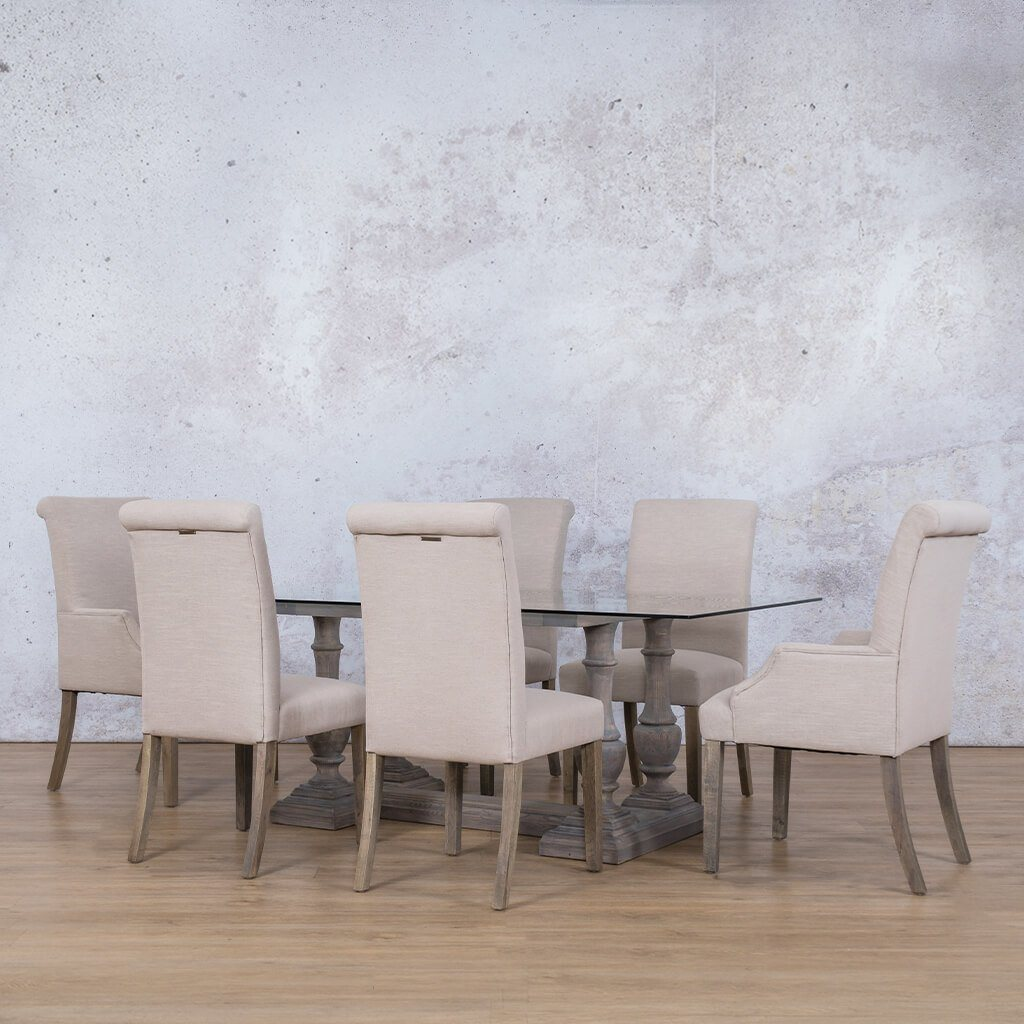 Charlotte Glass Top & Baron 6 Seater Dining Set