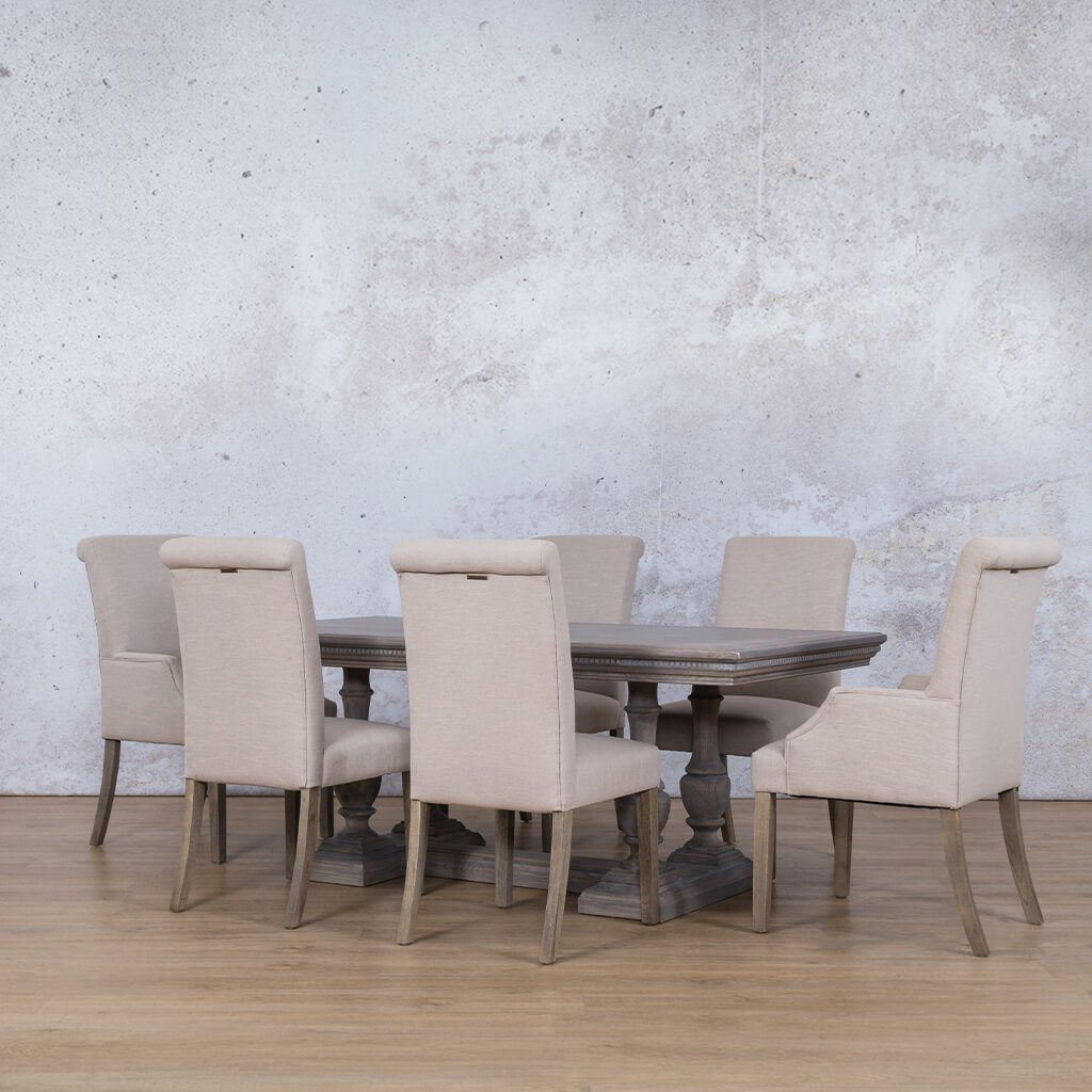Charlotte Fluted Wood Top & Baron 6 Seater Dining Set