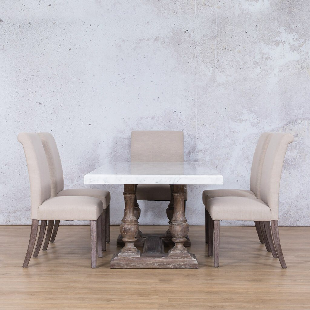 Charlotte Marble Top & Baron 6 Seater Dining Set
