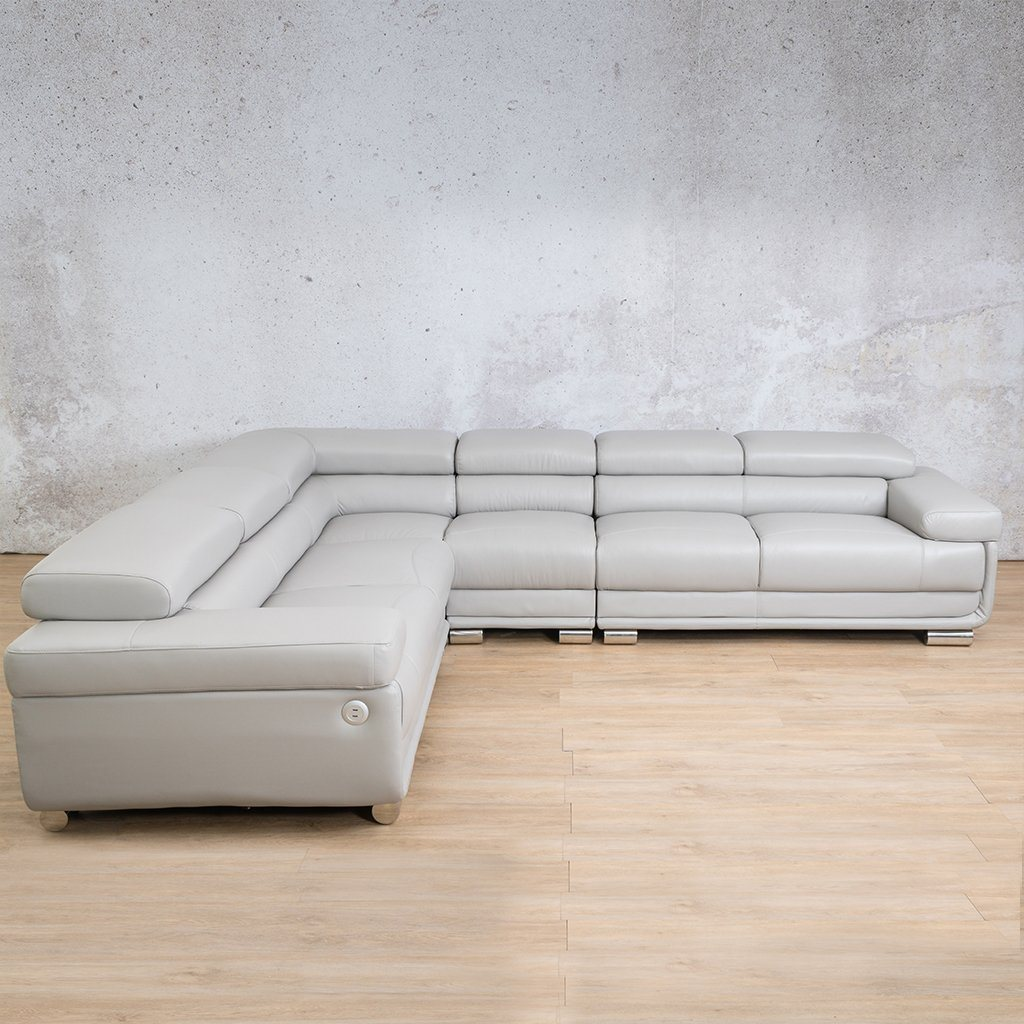 Tobago Leather Corner Couch | L-Sectional 5 Seater Couch | Grey-T | Couches For Sale | Leather Gallery Couches