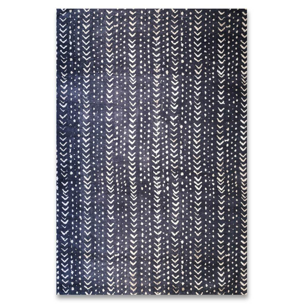 Midnight Mud Cloth Rug | Leather Gallery