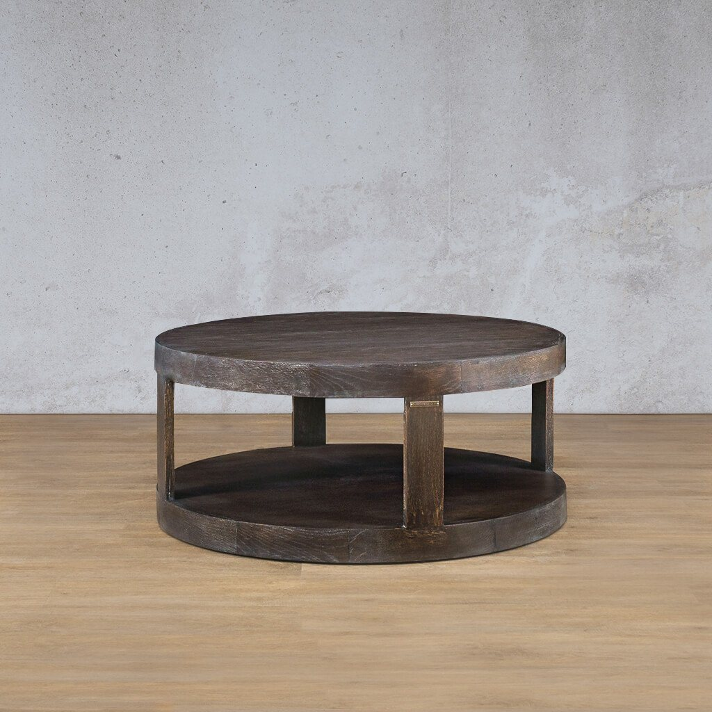 Pecksniffian Round Coffee Table | Leather Gallery