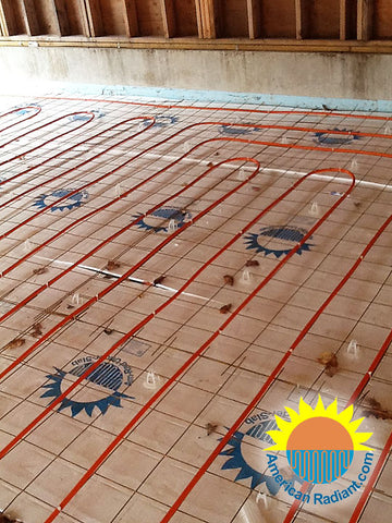 Radiant system in concrete slab