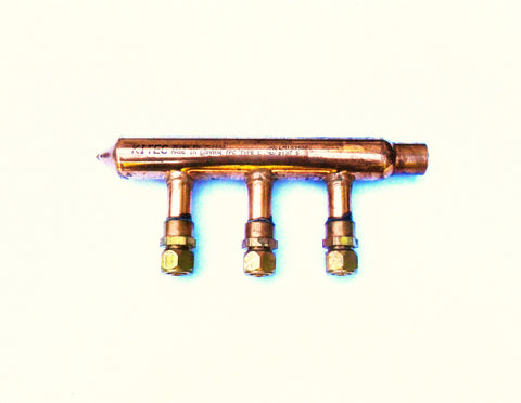 "3- Port Copper Manifold for 3/8"" Pex Al Pex"