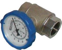 "3/4"" NPT Simplex Valve, Ball valve w/ innovative temperature gauge handle (Blue"
