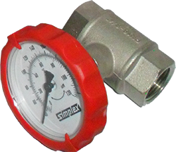 "1"" NPT Simplex Valve, Ball valve w/ innovative temperature gauge handle (Red)"