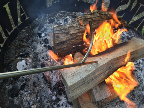 Tending to a fire!