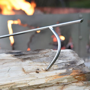Large Hook On Stainless Fire Poker with Fire In The Background