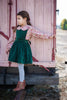 The Bria Pinafore in Forest Green Velvet