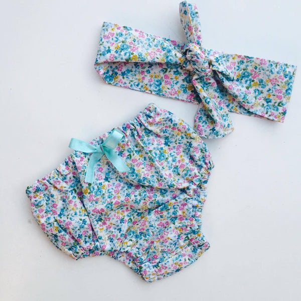 Bloomers and Headscarf Set in Ditsy Blue Floral