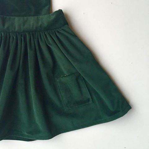 the bria pinafore in forest green velvetu003d size 5 and 6