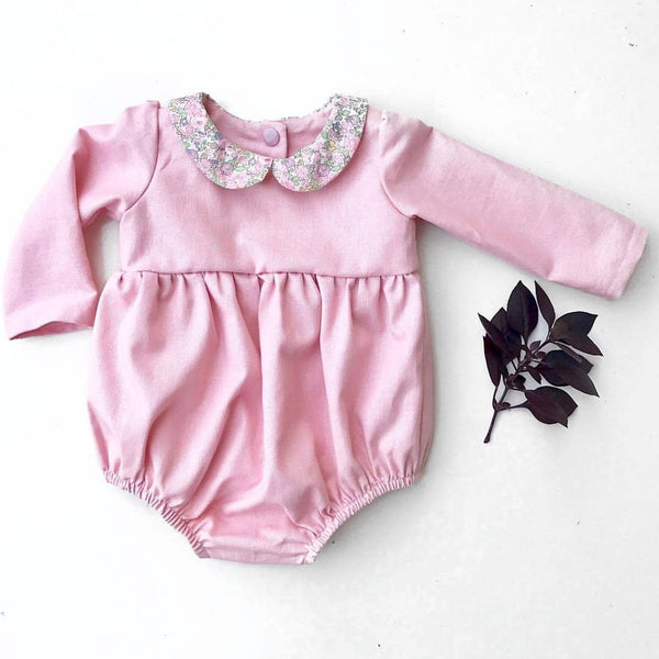 The Elsie Playsuit in Pink Linen Look Cotton- 000