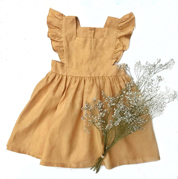 The Wynter Dress in 100% Linen (mustard)