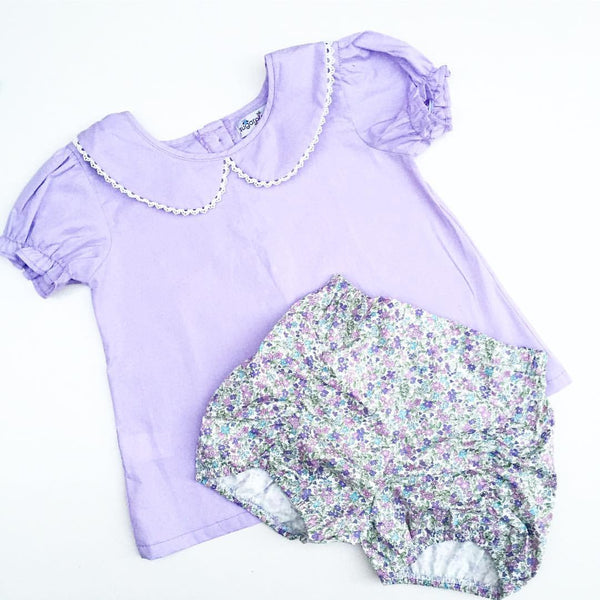 SPT Essentials Summer Edition Button Back Blouse in Lavender Field- 6, 7, 8