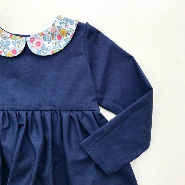The Lucy Dress in Navy Linen Look Cotton