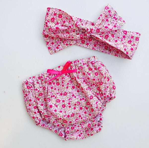 Bloomers and Headscarf Set in Pink Small Floral