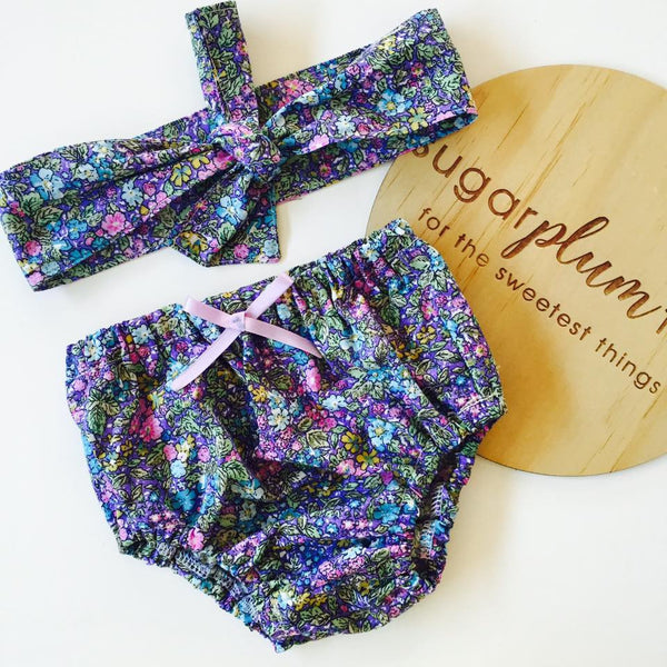 Bloomers and Headscarf Set in Ditsy Purple