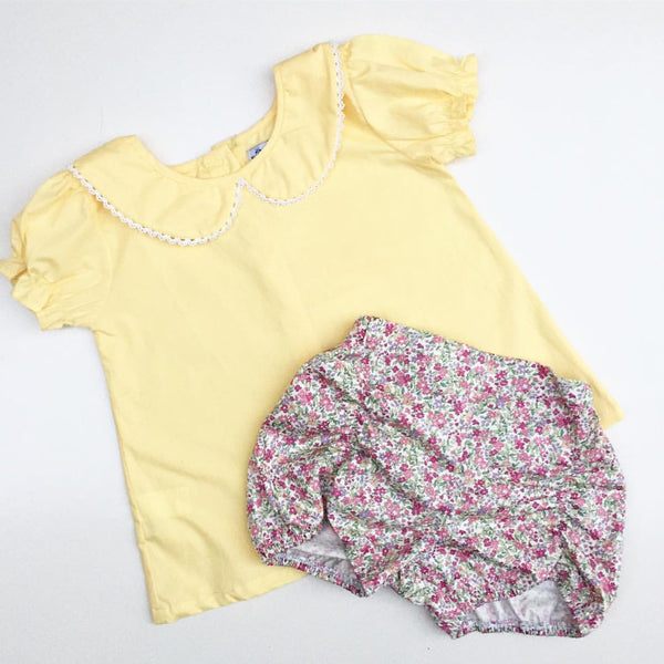 SPT Essentials Summer Edition Button Back Blouse in Lemon Sorbet