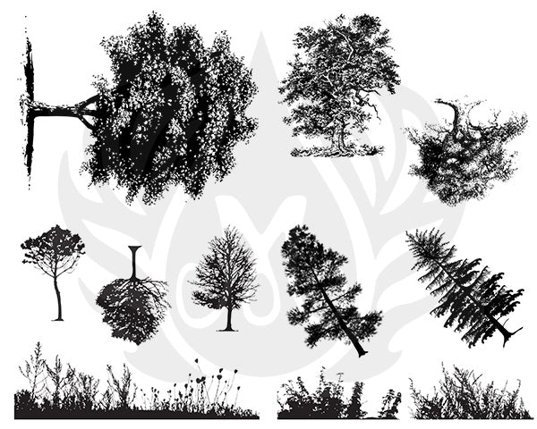 DSS-110 Silkscreen Botanical Trees
