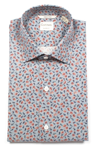 Abstract Floral Print Short Sleeve Shirt - Blue