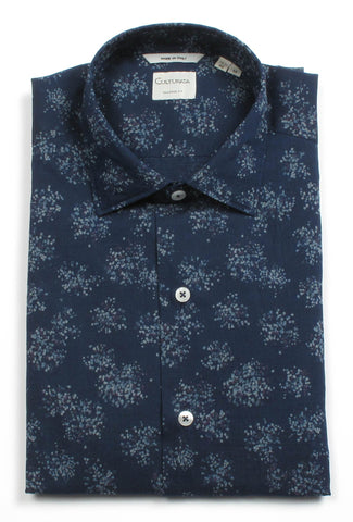 Soft Washed Large Floral Print Linen Short Sleeve Shirt - Navy
