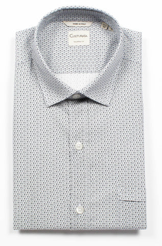 Small Print Dress Shirt - Blue