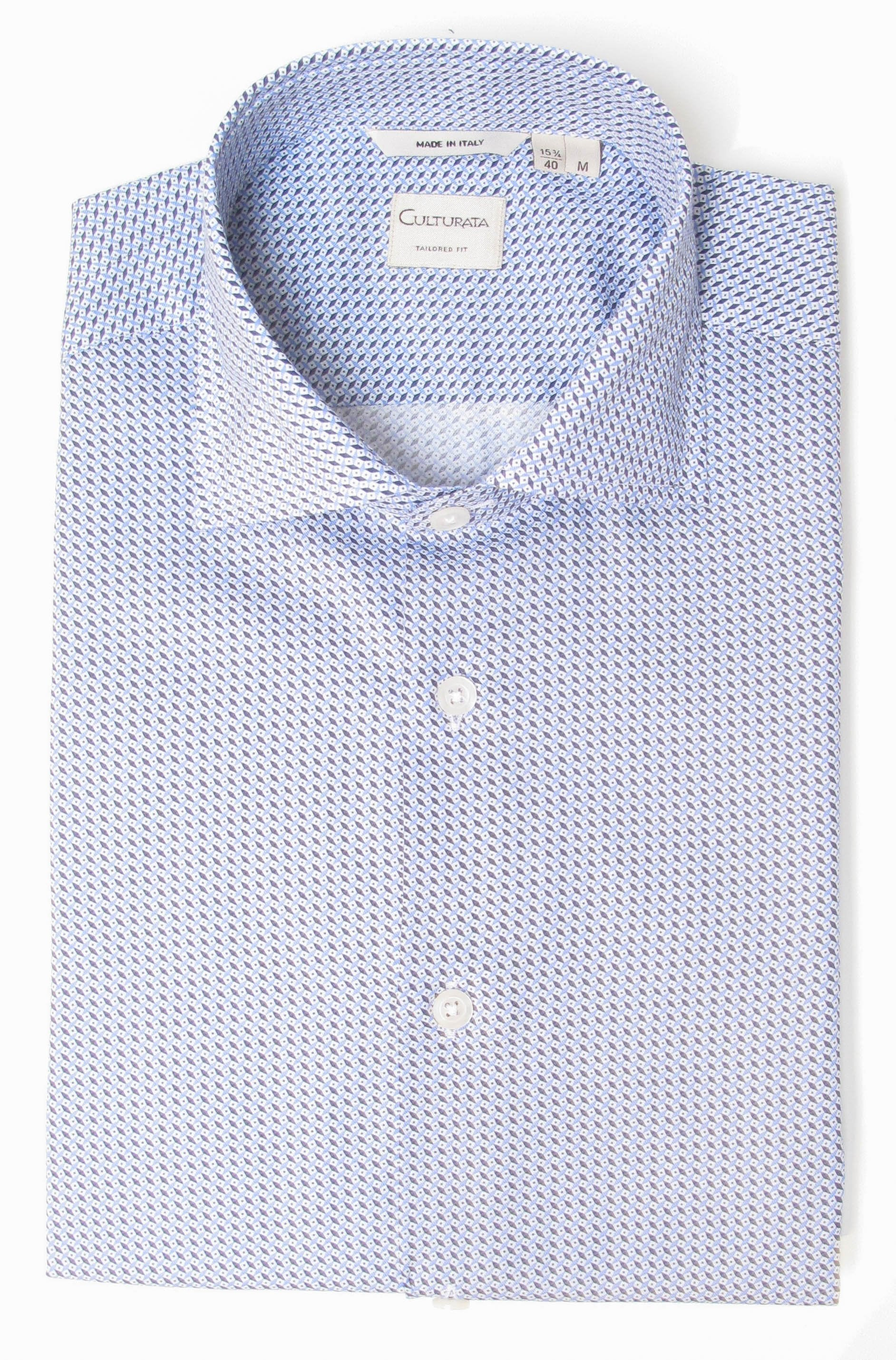Dress Shirt with Mini Print - Blue