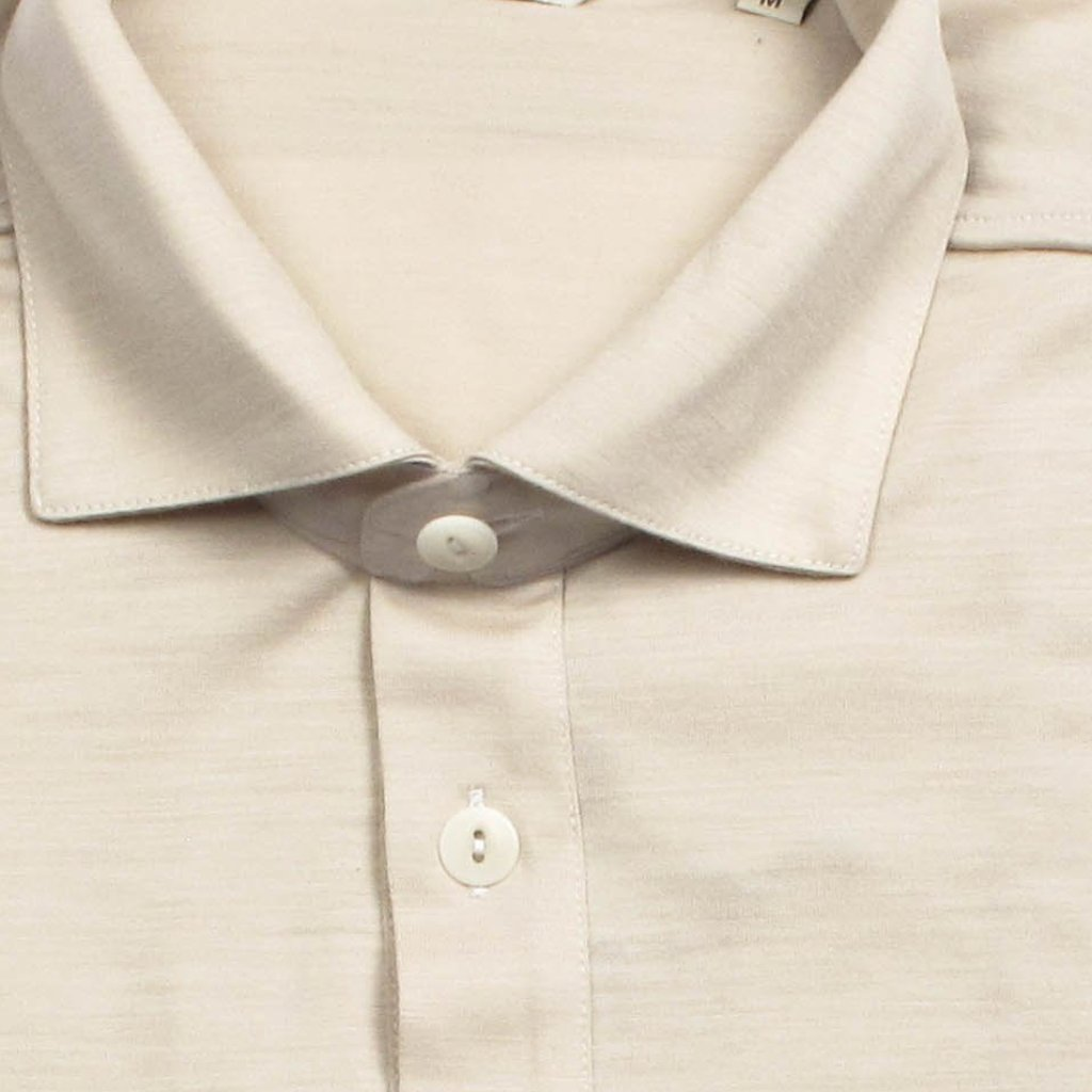 Italian Wool Long Sleeve Polo  - Beige