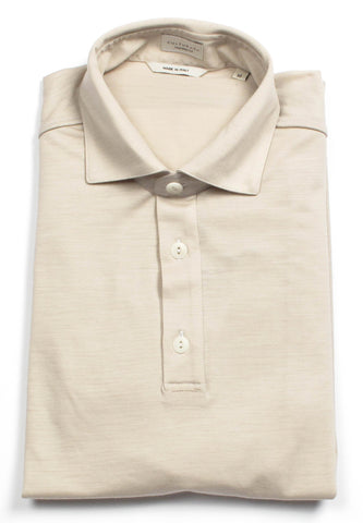 Italian Cotton Long Sleeve Polo - Green