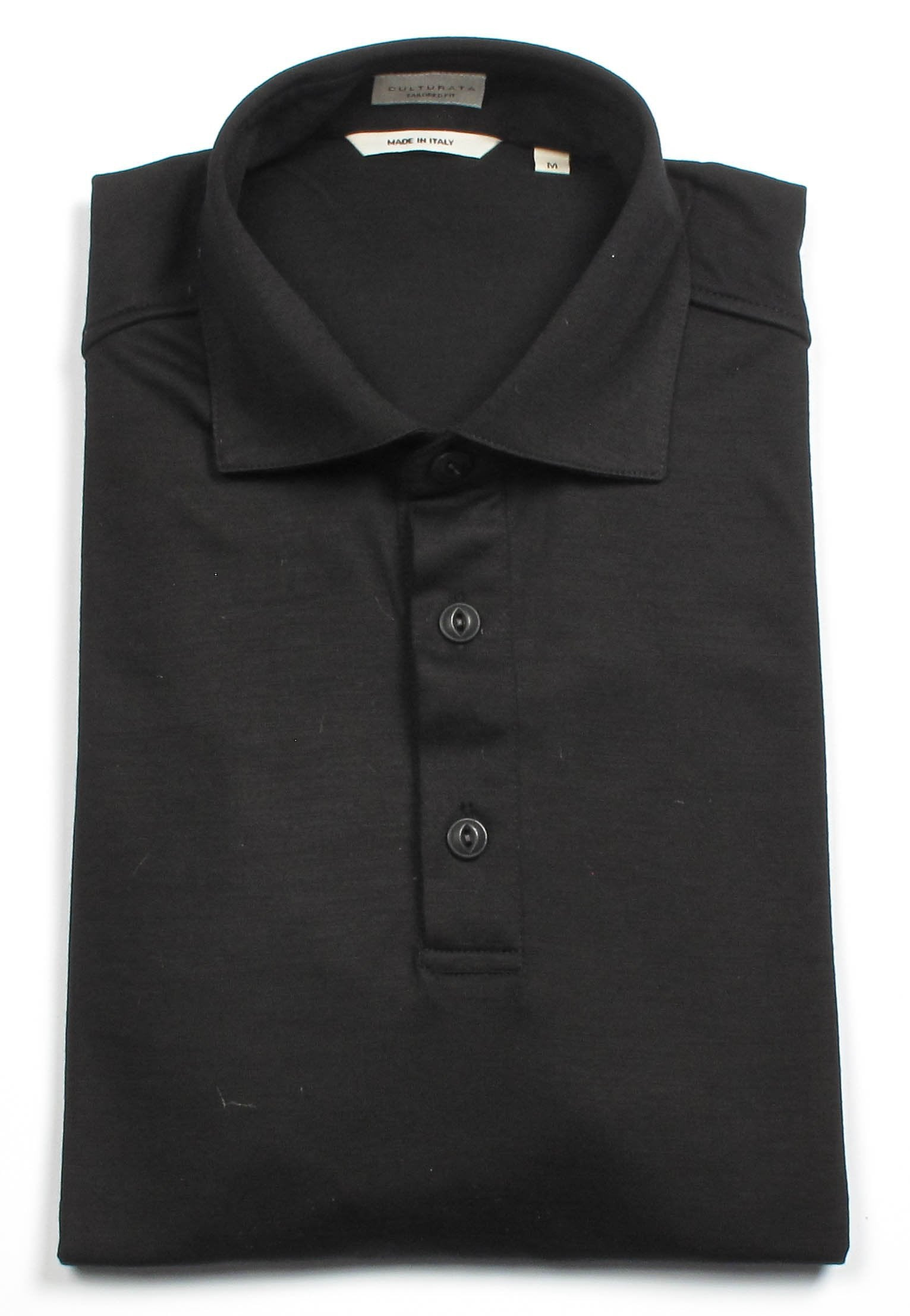 Italian Cotton Long Sleeve Polo  - Black
