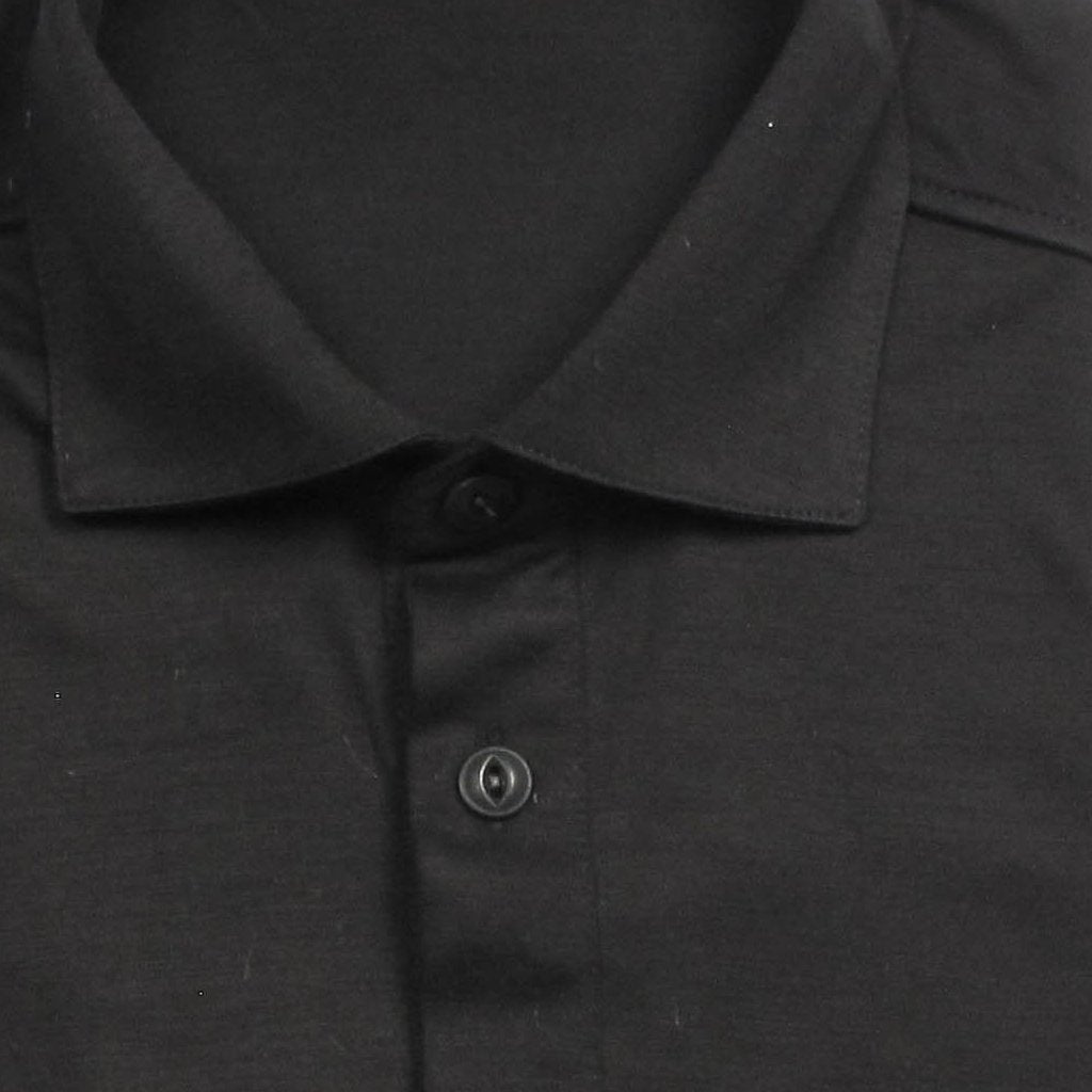 Italian Wool Long Sleeve Polo  - Black