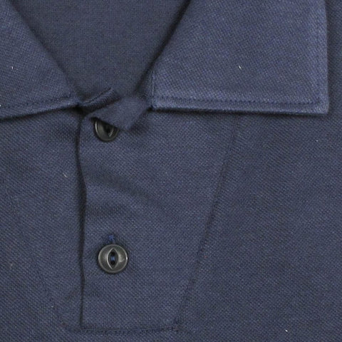 Italian Cotton Long Sleeve 2 Button Polo - Navy