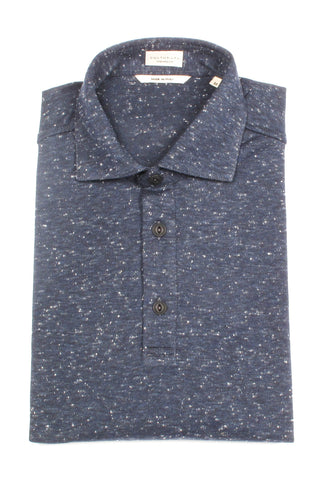 Italian Cotton Donegal Polo - Navy