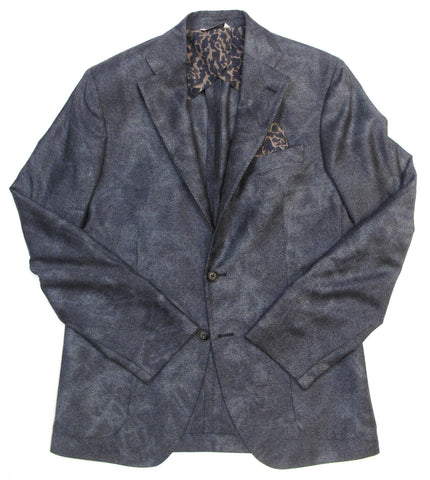 Two Button Twill Ombre Jacket - Blue