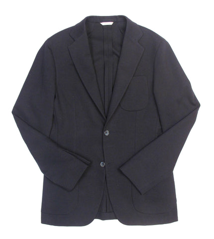Two Button Solid Knit Jacket - Navy