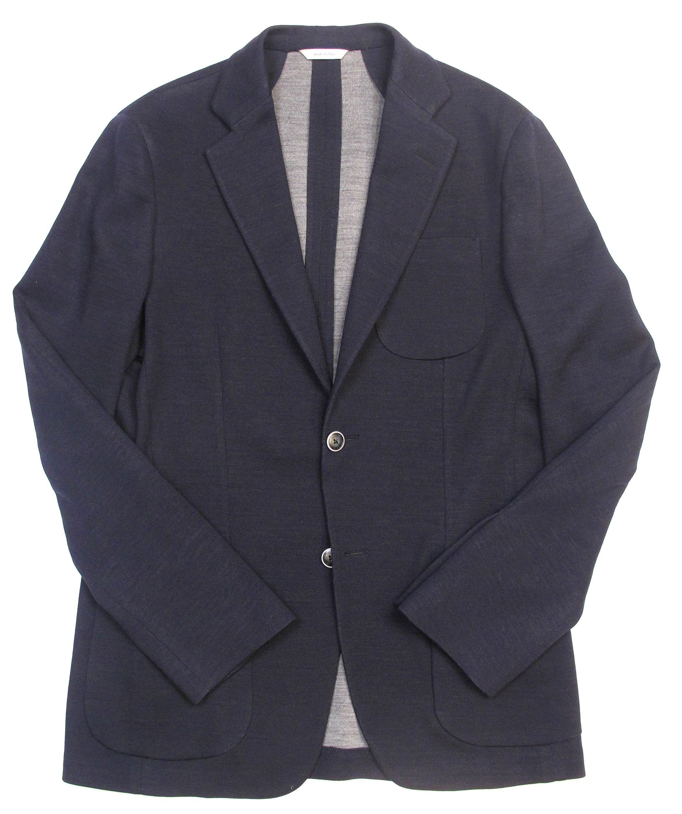 Solid Double Faced Jersey Jacket - Navy